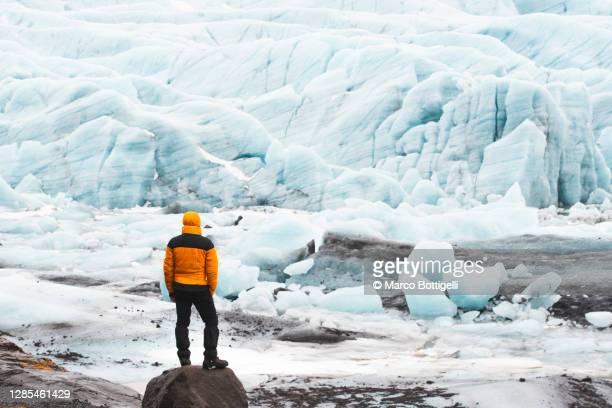 man looking at a melting glacier - 氷河湖 ストックフォトと画像