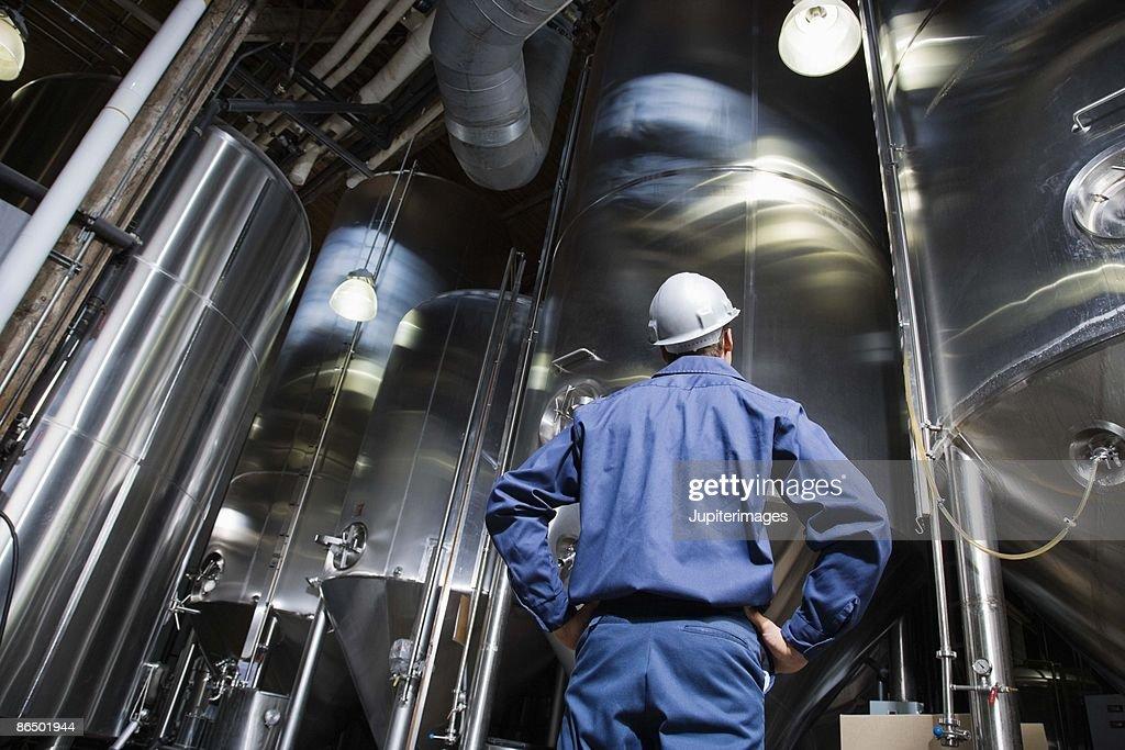 Man looking at brewery vats : Stock Photo
