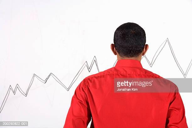 Man looking at graph on wall, rear view