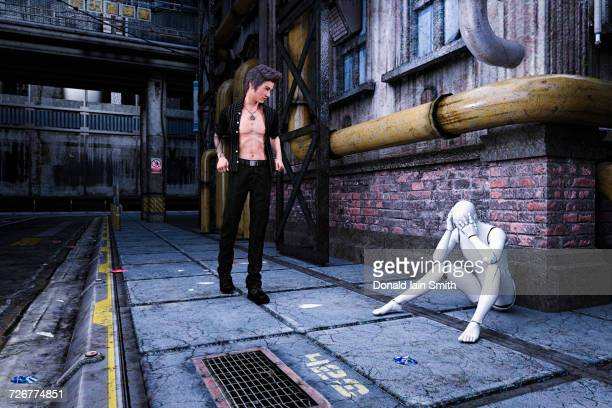 Man looking at sad robot sitting on sidewalk in futuristic city
