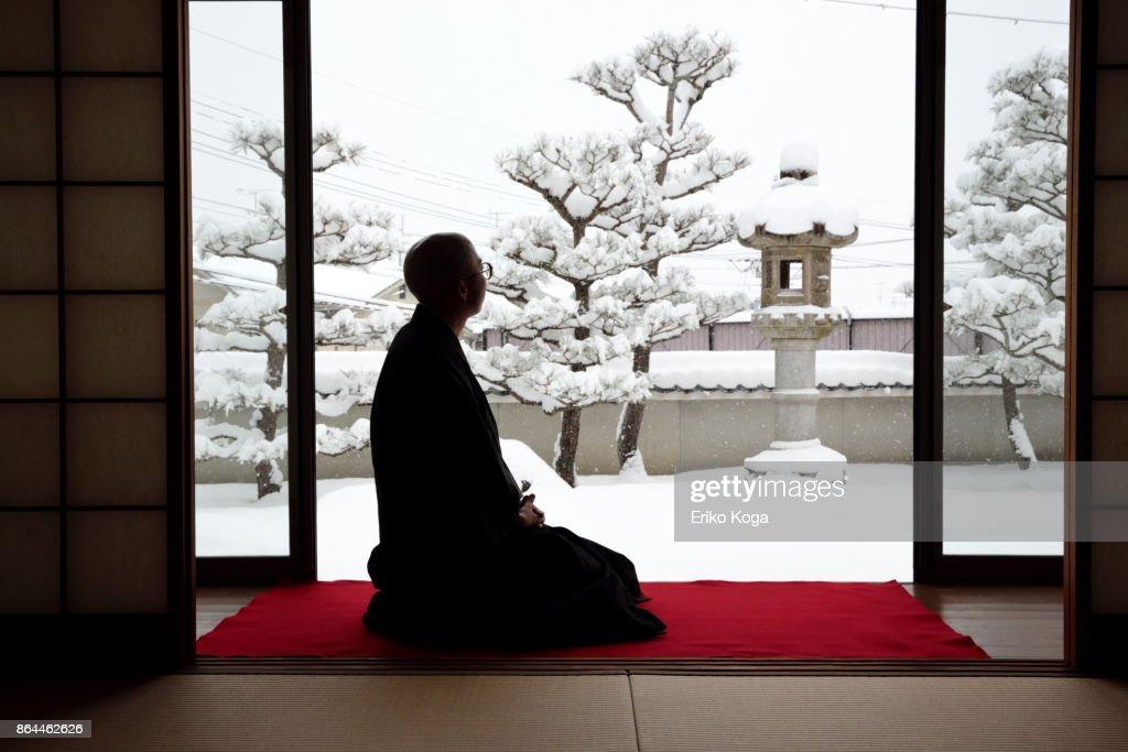 Man looking at snowy garden : Stock Photo