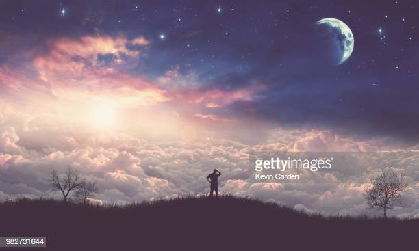 man looking at space - wolf moon stock photos and pictures