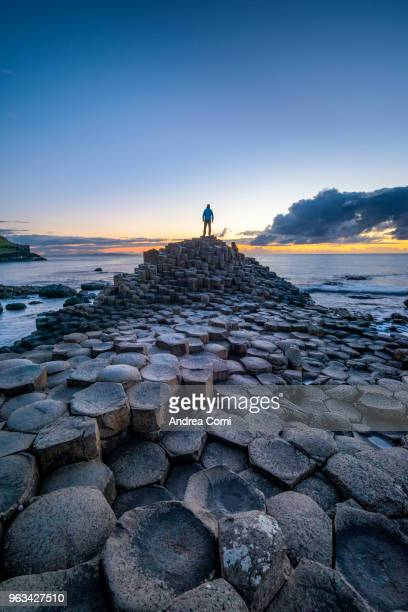 a man looking at sunset on basalt column. - county antrim stock pictures, royalty-free photos & images