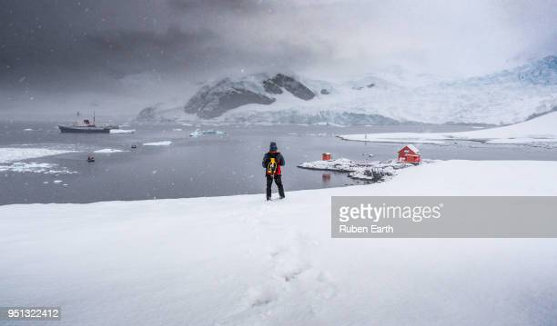 Man looking at the Antarctic landscape