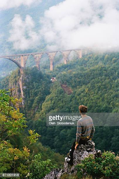 man looking at the bridge on tara river - montenegro imagens e fotografias de stock