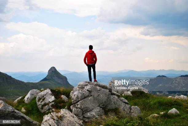 man looking at the mountains - top fotografías e imágenes de stock