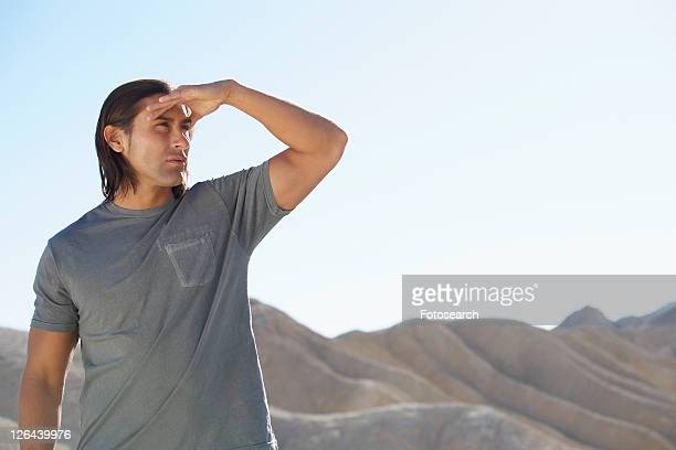 Man looking at view in desert