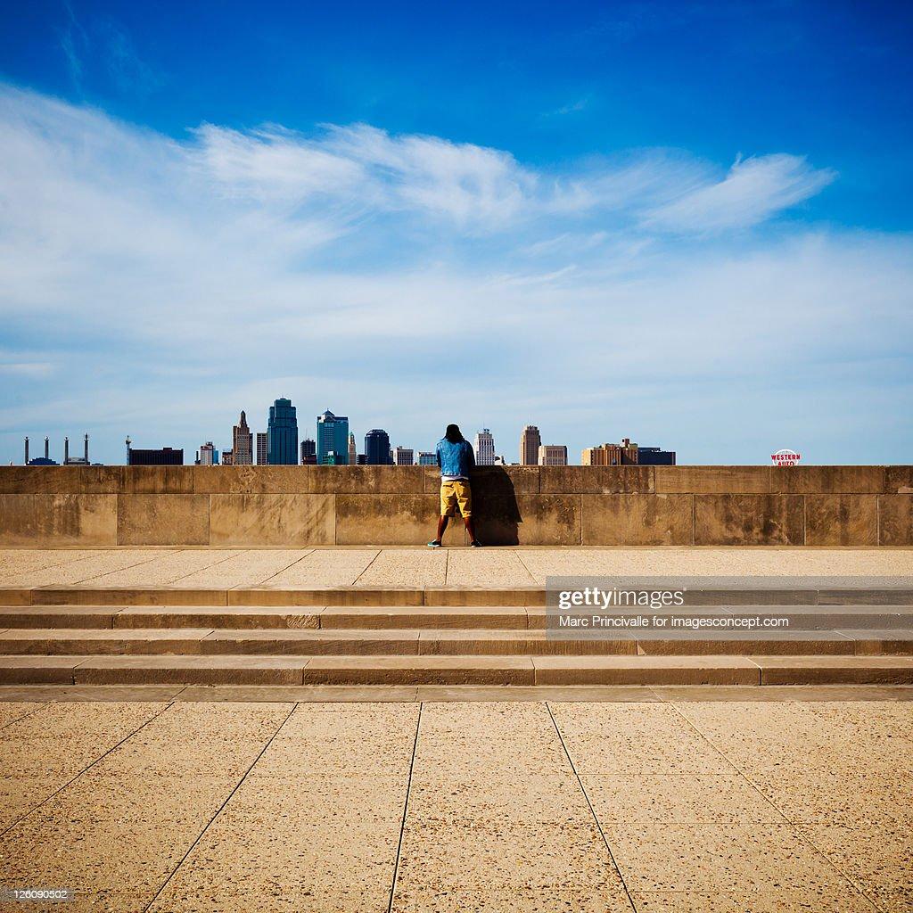 Man looking at view : Stock Photo