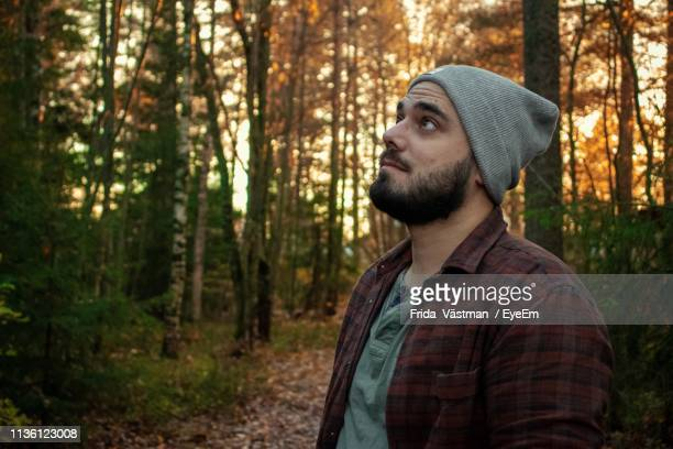 man looking away in forest - only mid adult men stock pictures, royalty-free photos & images