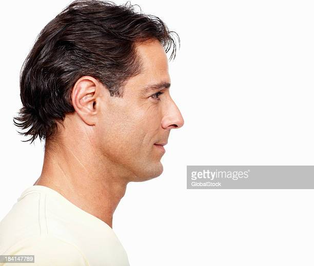 Man looking away on white background