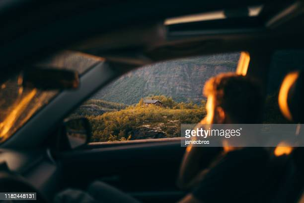 man looking on view from the car - looking at view stock pictures, royalty-free photos & images