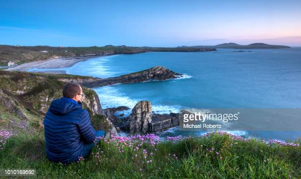 man looking out over whitesands bay on the pembrokeshire coast path at sunset near st davids, wales - wales stock-fotos und bilder