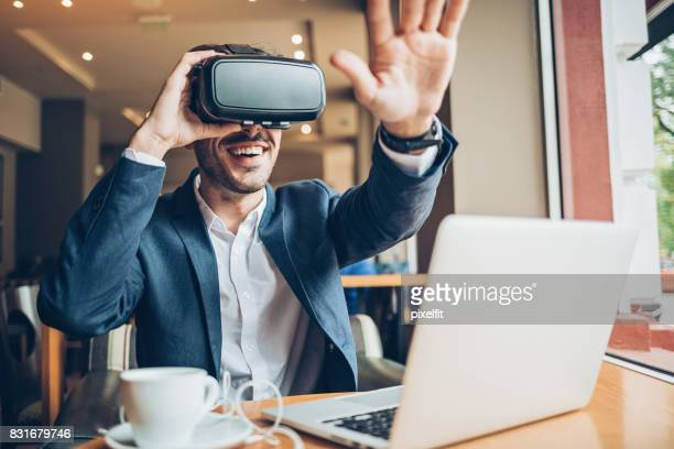 Man looking through a VR headset