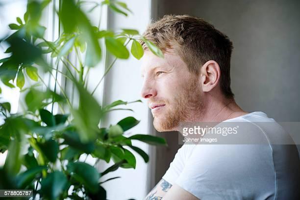 man looking through window - werkloosheid stockfoto's en -beelden
