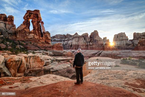 man looking up at druid arch in canyonlands national park - sandy utah stock pictures, royalty-free photos & images