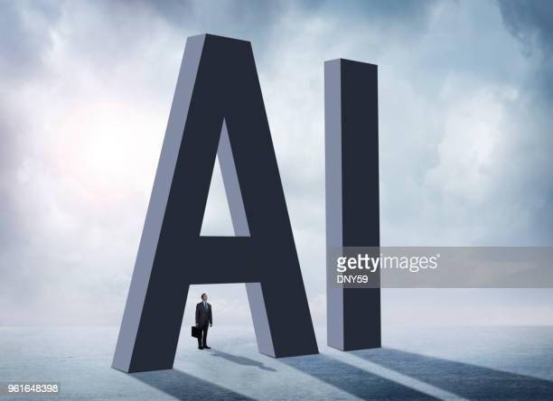 Homme à la recherche dans son ensemble AI lettres