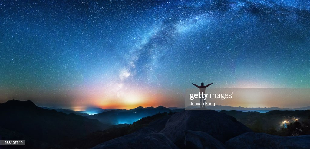 Man Looking Up The Milky Way : Stock Photo