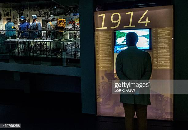 A man looks at a board displaying information of WWI on July 1 2014 at Vienna's Austrian Military Museum before the upcomming 100year anniversary of...
