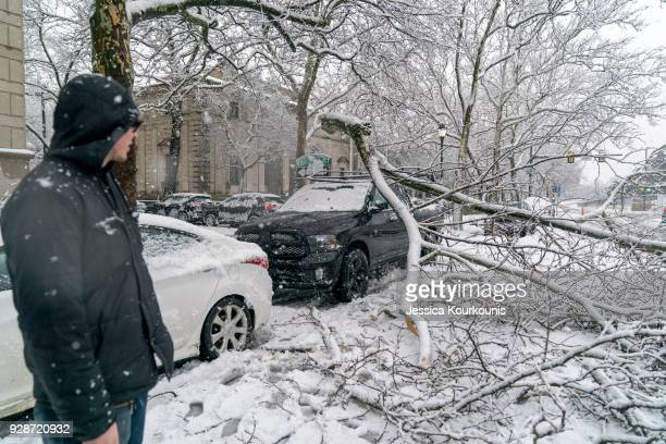 A man looks at a branch that fell from heavy snow and landed on his friend's truck on March 7 2018 in downtown Philadelphia Pennsylvania This is the...
