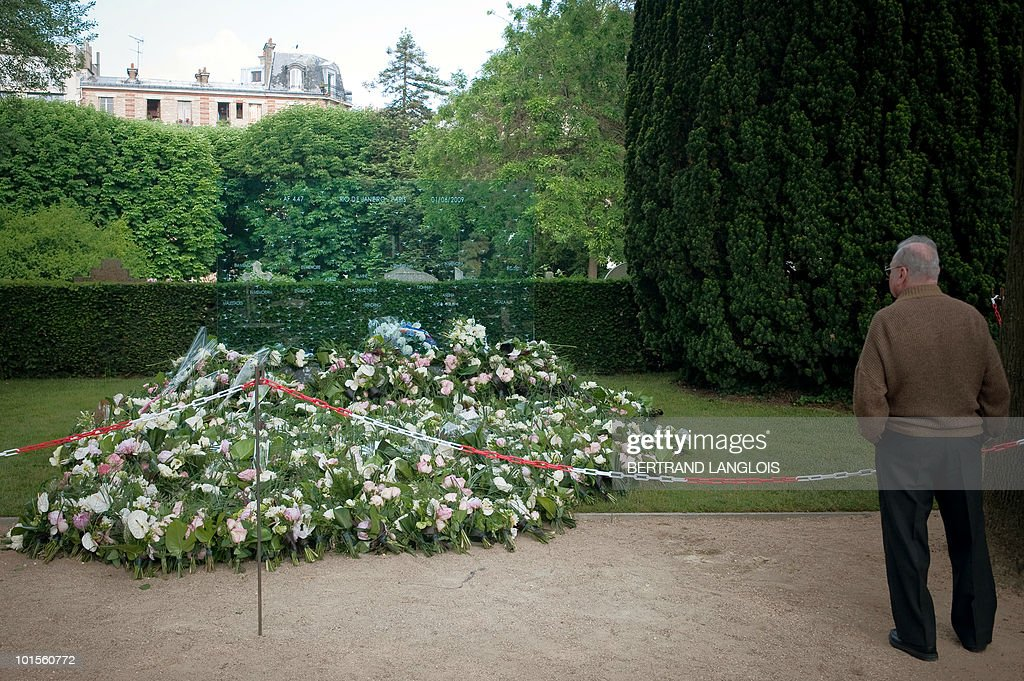 A man looks at a funerary stela in tribute to the victims of the Air France Flight 447 Rio-Paris plane crash on June 2, 2010 at the Pere Lachaise cemetery in Paris. The Airbus 330 crashed in a storm on its way from Rio de Janeiro to Paris on June 1, 2009 killing all 228 people on board -- the worst disaster in Air France's 75-year history. Many relatives of victims allege that the French Aviation Investigation and Analysis Bureau (BEA), Airbus and Air France are dragging out the inquiry to avoid admitting that the disaster was caused by a known problem with the jet's air speed monitors.