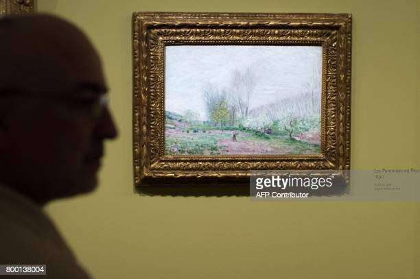 A man looks at a painting entitled 'Les Pommiers en fleurs' by late French painter Alfred Sisley as part of the exhibition 'Sisley the impressionist'...