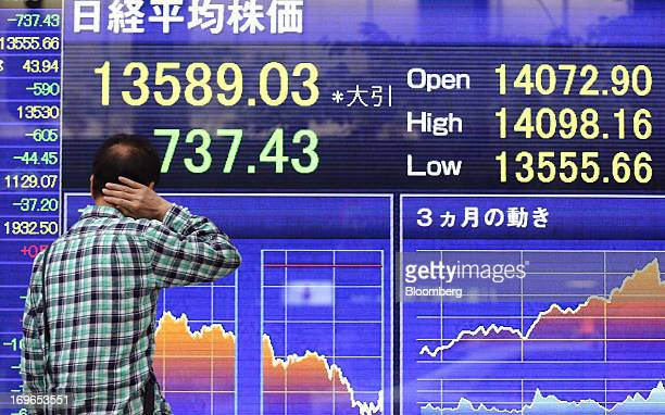 A man looks at an electronic stock board displaying the closing figure of the Nikkei 225 Stock Average outside a securities firm in Tokyo Japan on...