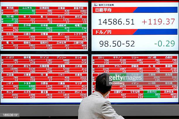 A man looks at an electronic stock board displaying the closing figure of the Nikkei 225 Stock Average top right in Tokyo Japan on Thursday Oct 17...