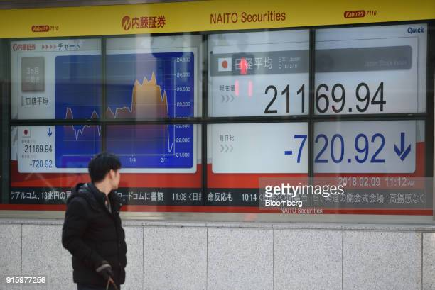 A man looks at an electronic stock board showing the Nikkei Stock Average outside a securities firm in Tokyo Japan on Friday Feb 9 2018 The Topix...