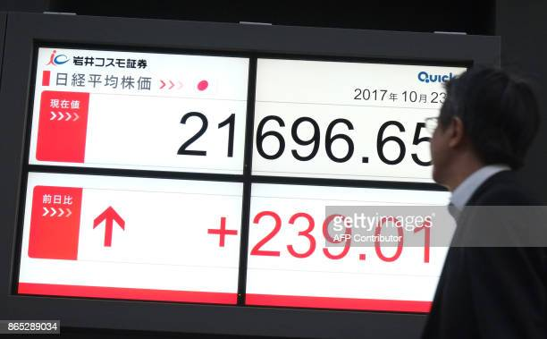 A man looks at an electronics stocks indicator displaying share prices of the Tokyo Stock Exchange in Tokyo on October 23 2017 Tokyo's Nikkei 225...