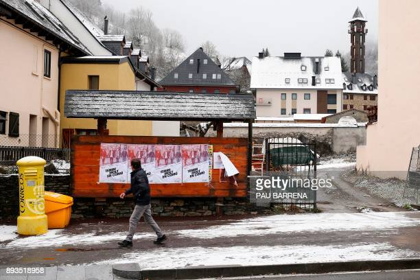 Man looks at campaign posters of Catalunya en Comu-podem candidates for the upcoming Catalan regional election in Vielha e Mijaran in northwest...