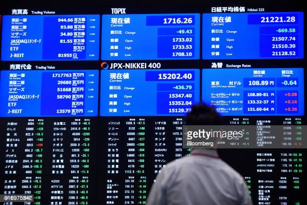 A man looks at screens displaying stock indices at the Tokyo Stock Exchange operated by Japan Exchange Group Inc in Tokyo Japan on Friday Feb 9 2018...