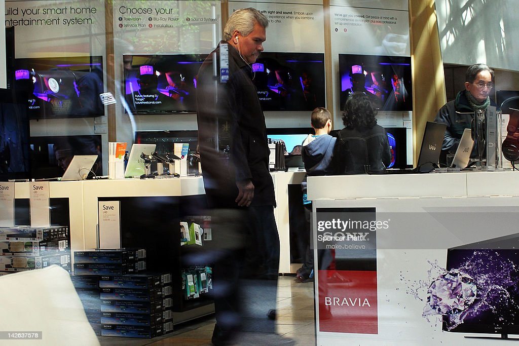 A man looks at Sony products at the Sony store on April 10, 2012 in New York City. Sony, the Japanese electronics company, has more than doubled its projected net loss for the past financial year to ´520 billion, the equivalent to $6.4 billion, its worst loss ever.