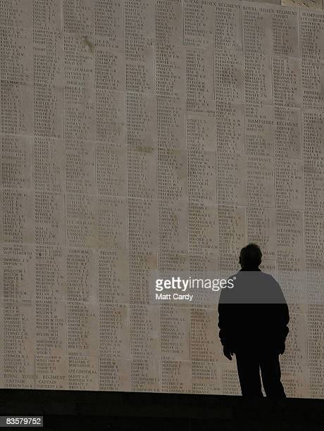A man looks at the names of the missing on the Thiepval Memorial on November 4 2008 in Arras France The Commonwealth War Grave Commission manages 956...