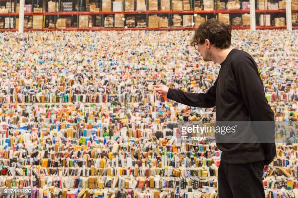 A man looks at the piece called 'Amazon' by Andreas Gursky in the reopened Hayward Gallery on January 24 2018 in London England