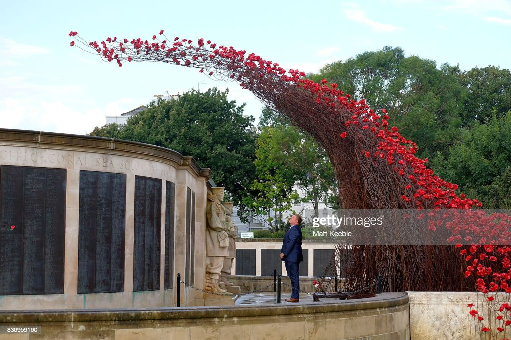 A man looks at the poppy sculpture 'Wave' as it opens at the CWGC Naval Memorial as part of a UK wide tour organised by 14-18 NOW on August 22, 2017 in Plymouth, England.