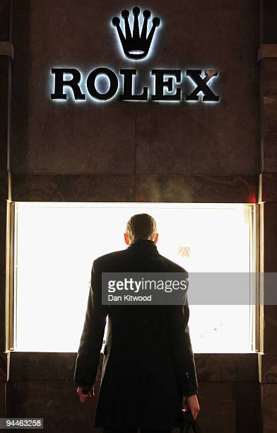 A man looks in the Rolex Store on Oxford Street on December 14 2009 in London England High street stores are expecting a bumper Christmas this year...
