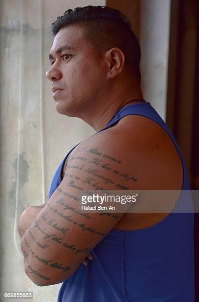 Man looks outside a window