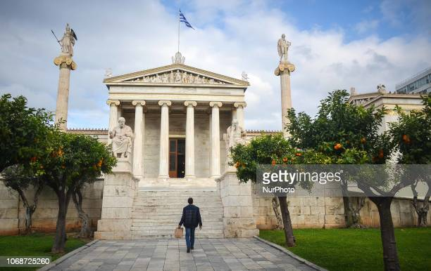 man looks the academy of Athens Greece 5 Deceber 2018 22% of GDP growth for the third quarter of the year records ELSTAT thefirst annual data for the...