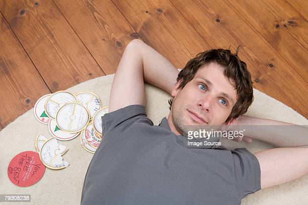 Man lying down and thinking