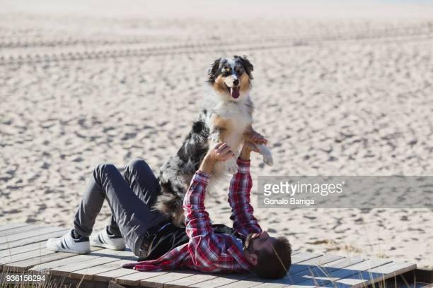 Man lying on beach boardwalk playing with dog