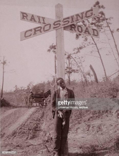 Man Lynched at Railroad Crossing Orangeburg South Carolina USA Albumen Photograph January 6th 1897