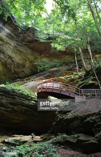 Man made bridge built on the cliff