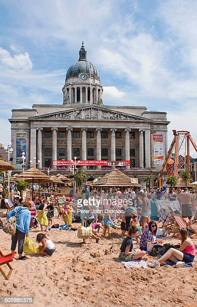 Man made urban beach in Nottingham's Old Market Square.