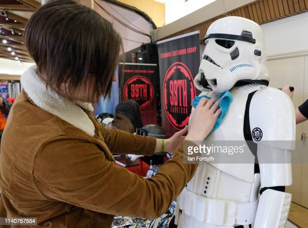 Man makes finishing touches to his display of Storm Trooper characters on the first day of the Scarborough Sci-Fi weekend at the seafront Spa Complex...