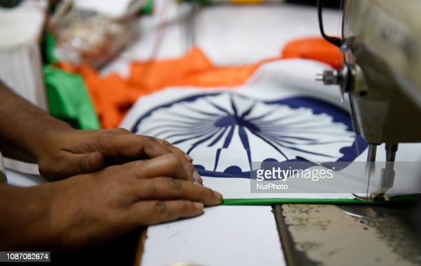 A man makes flags in Mumbai India on 23 January 2019 before Indian Republic day ie 26th of January 2019