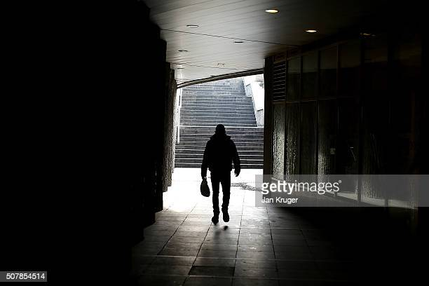 A man makes his way out of the metro on January 31 2016 in Sofia Bulgaria