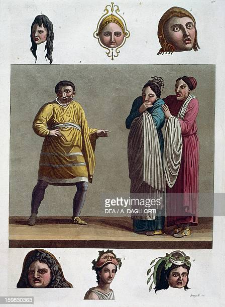 A man making a mockery and the women are shocked At the top three tragic masks At the bottom two female masks and Bacchus Greek theatre comedy scene...