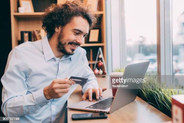 Man making an onlline payment