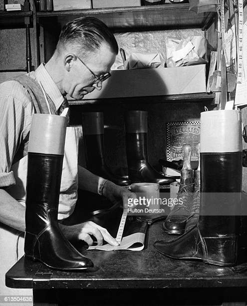 Man making boots for jockeys in Newmarket England 1955