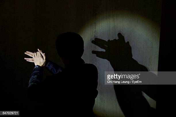 Man Making Shadow With Hands On Wall